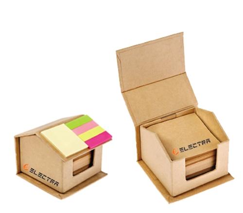 קופסת ממו בצורת בית מנייר ממוחזר