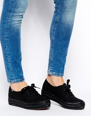 נעלי קדס פלטפורמה נשים Keds Triple Black