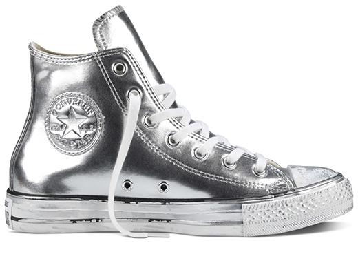 נעלי אולסטאר כסף עור נשים Converse Chrome Leather Silver