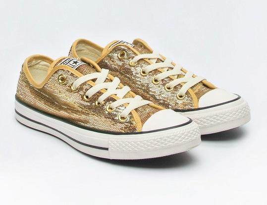 נעלי אולסטאר זהב פייטים נשים Converse Sequin