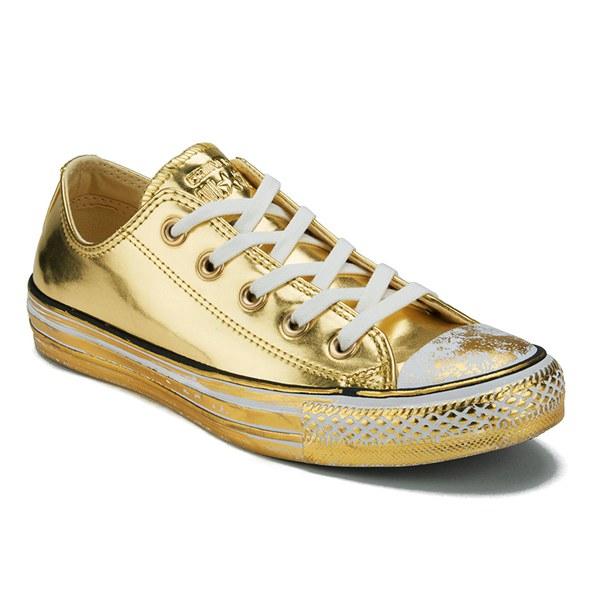 נעלי אולסטאר זהב עור נשים Converse Chrome Leather Gold