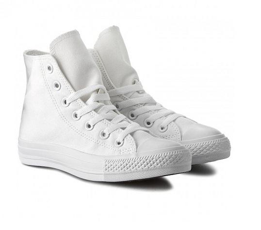 נעלי אולסטאר לבן חלק נשים גברים Converse Mono White