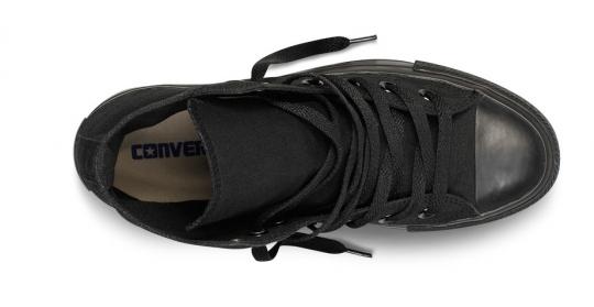 נעלי אולסטאר שחור חלק גבוה נשים גברים Converse Black Mono
