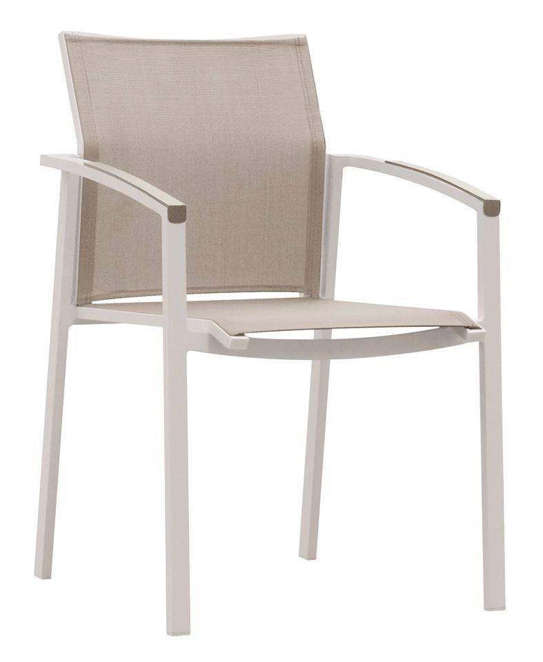 כסא אלומיניום בעל ידיות מעוצבות בשילוב טקסליין
