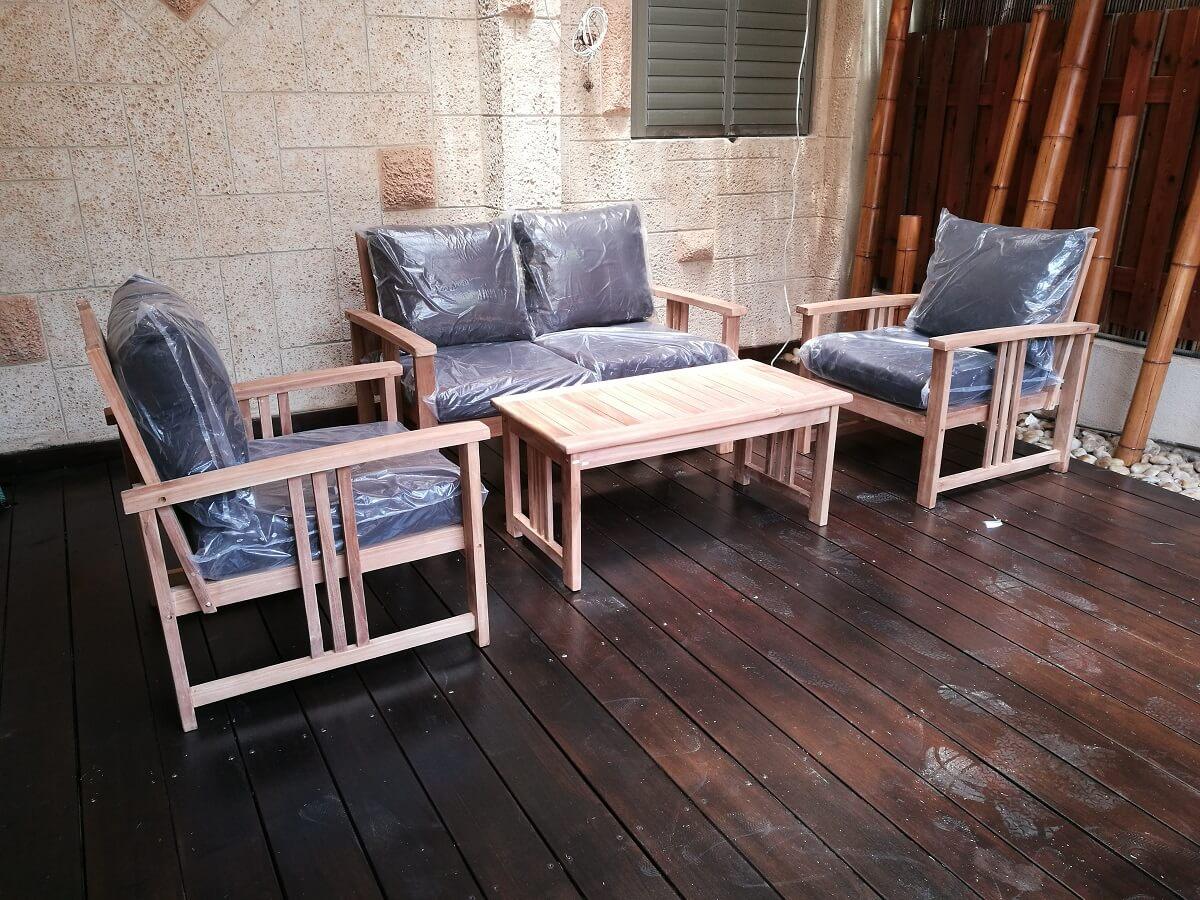 פינת ישיבה מעץ לגינה דגם SWEEDEN