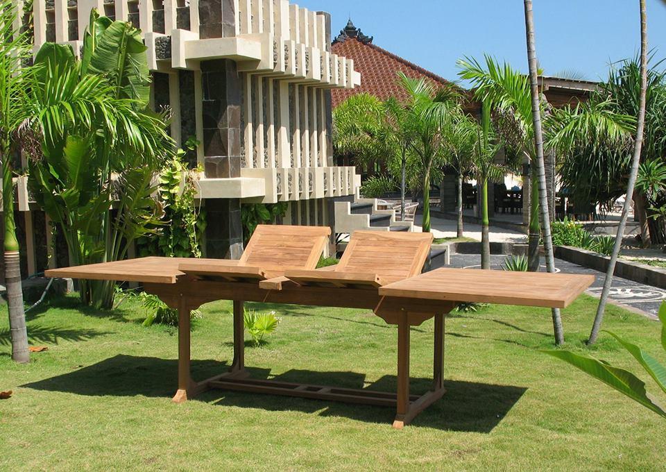 שולחן עץ טיק מלבני נפתח דגם JAVA