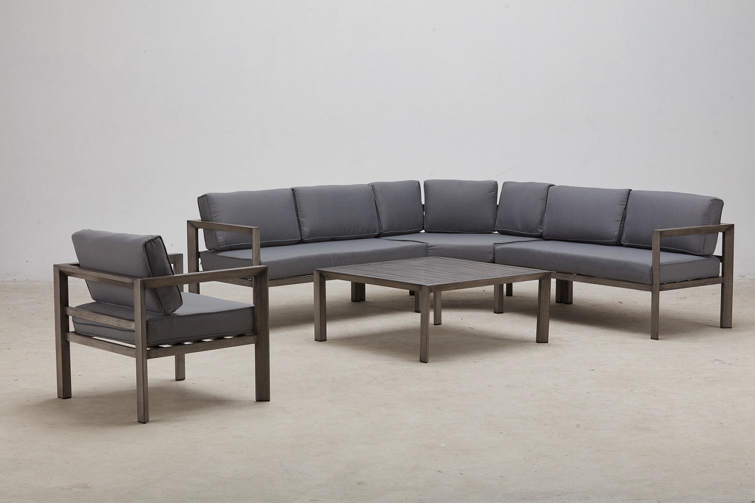 סלון אלומיניום פינתי דגם VEGAS כולל כורסא בודד צבע ברוש