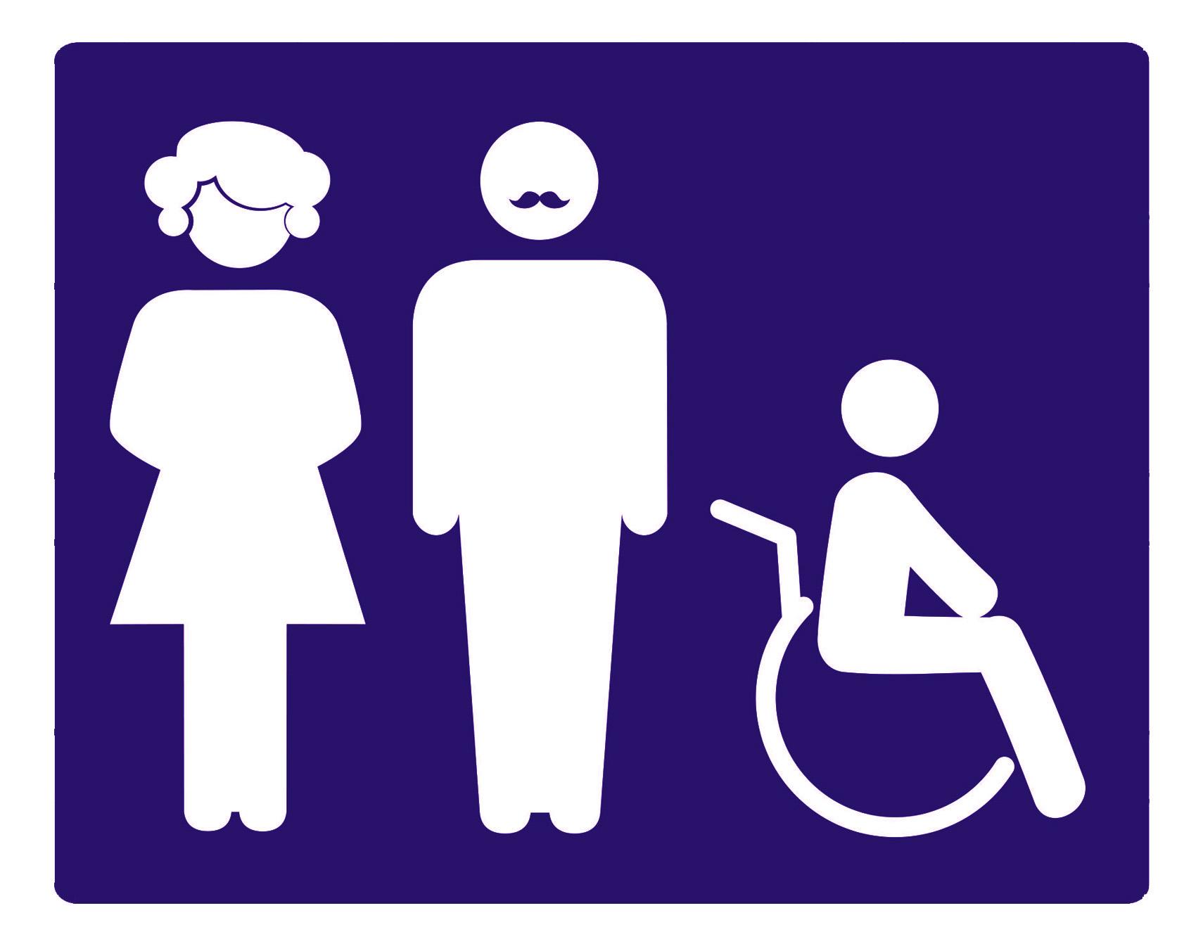 שלט שירותים משולבים (גברים נשים ונכים) איור. 14/12 ס''מ
