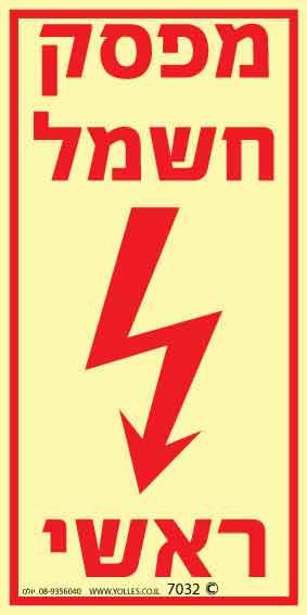 שלט פולט אור 7032 מפסק חשמל ראשי 20/10 ס''מ