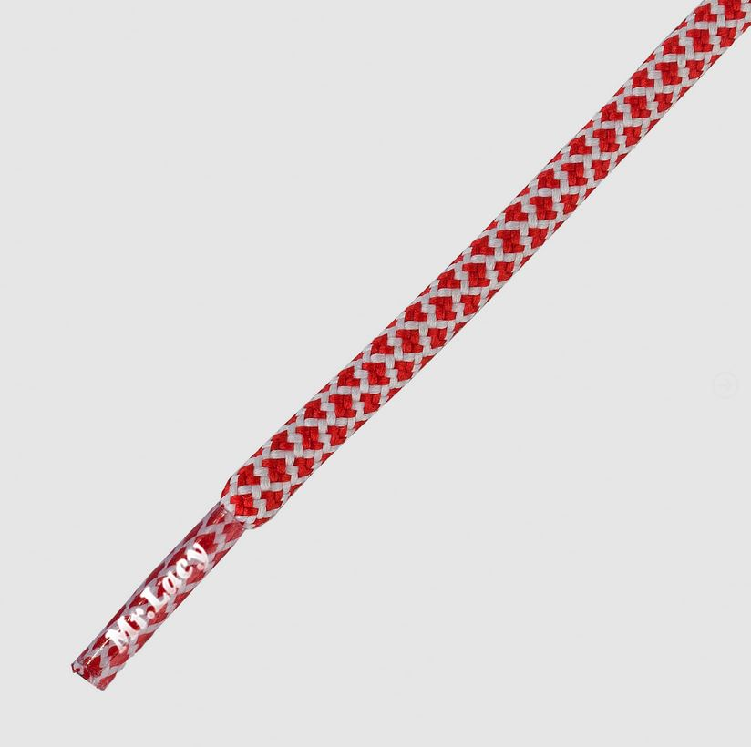 Ropies Red White- זוג שרוכים חבל עגול בצבע אדום לבן