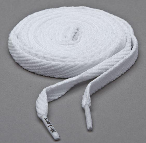 Flatties White- זוג שרוכים שטוחים בצבע לבן