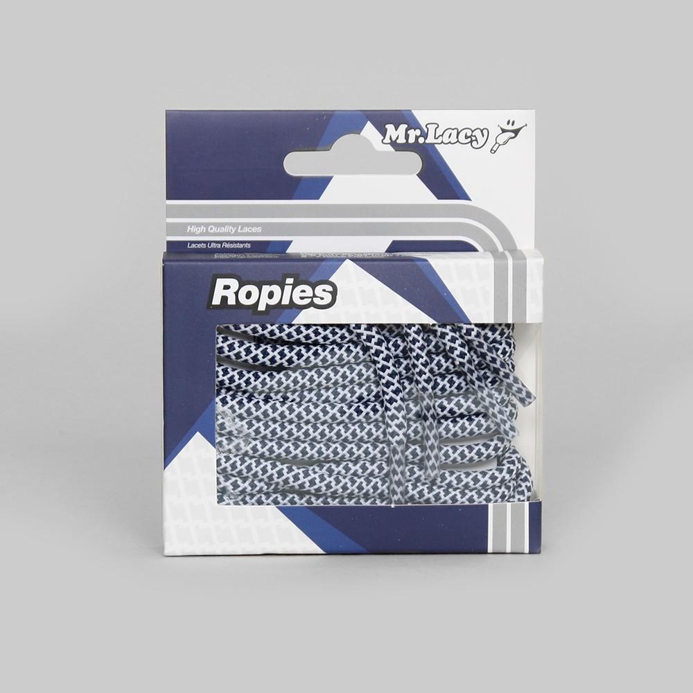 Ropies Navy White - זוג שרוכים חבל עגול בצבע כחול לבן