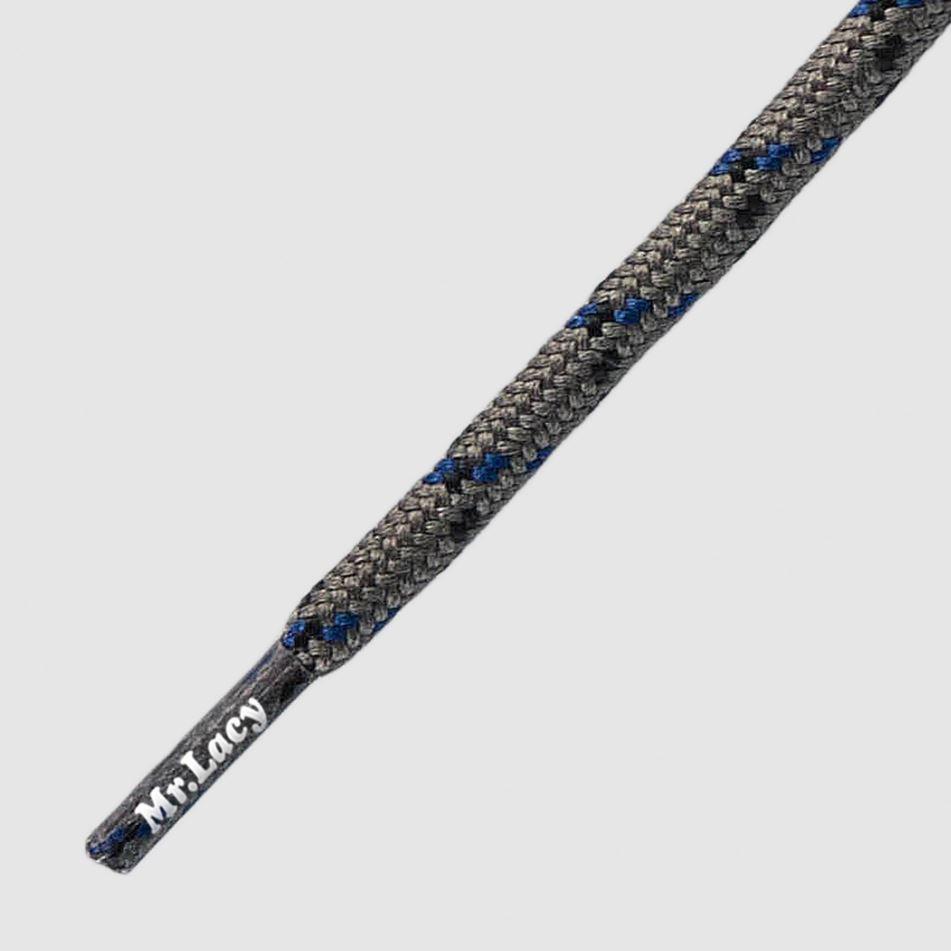 150 Hikies Round- זוג שרוכים עגולים בצבע אפור בהיר עם שחור וכחול