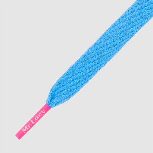Flatties CT Mellow Blue/Neon Pink - זוג שרוכים שטוחים בצבע תכלת עם אגלט ורוד ניאון