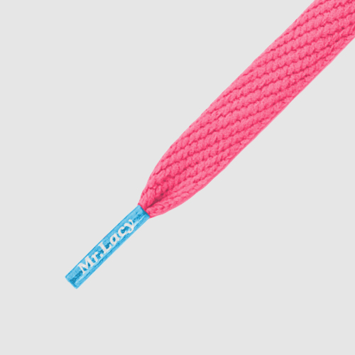 Flatties JR CT NeonPink/MellowBlue - זוג שרוכים שטוחים לילדים בצבע ורוד ניאון עם אגלט תכלת