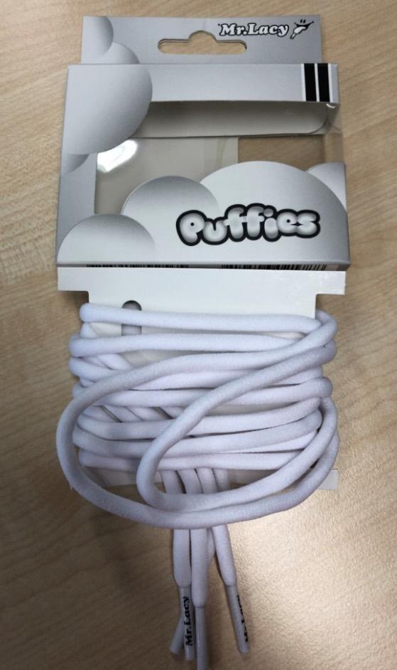 Puffies White - זוג שרוכים עגולים נפוחים בצבע לבן