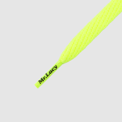 Smallies Neon Lime Yellow- זוג שרוכים קצרים בצבע צהוב ניאון