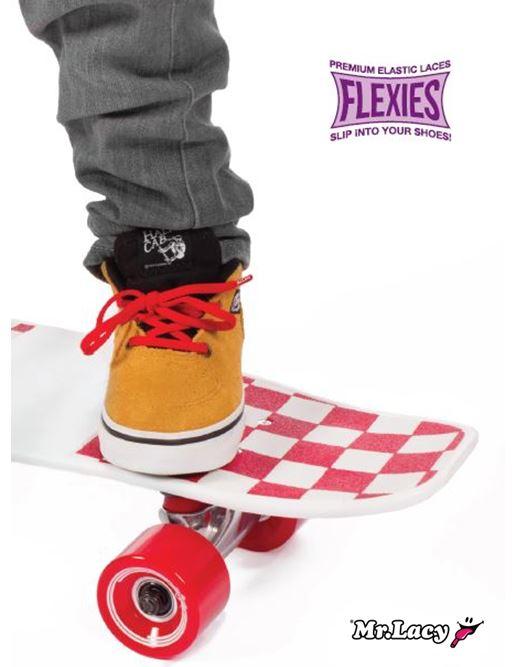 90 Flexies Red- זוג שרוכים אלסטיים בצבע אדום
