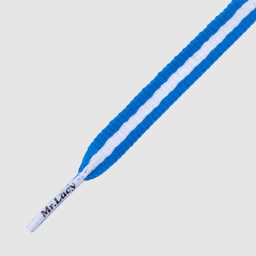 Stripies Royal Blue White- זוג שרוכים שטוחים עם הפס כחול לבן