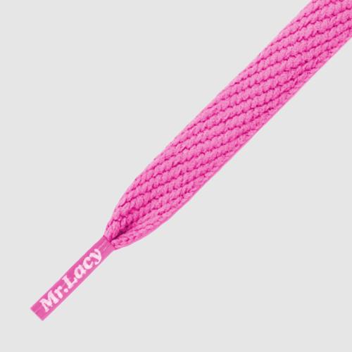Flatties Junior Lipstic Pink- זוג שרוכים שטוחים לילדים בצבע ורוד ליפסטיק