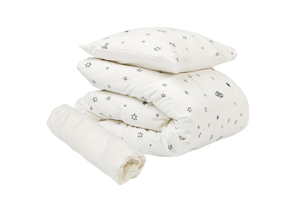 אבק כוכבים לבן - סט מצעים למיטת תינוק