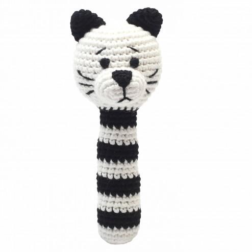 רעשן חתולי שחור לבן - בובות סרוגות