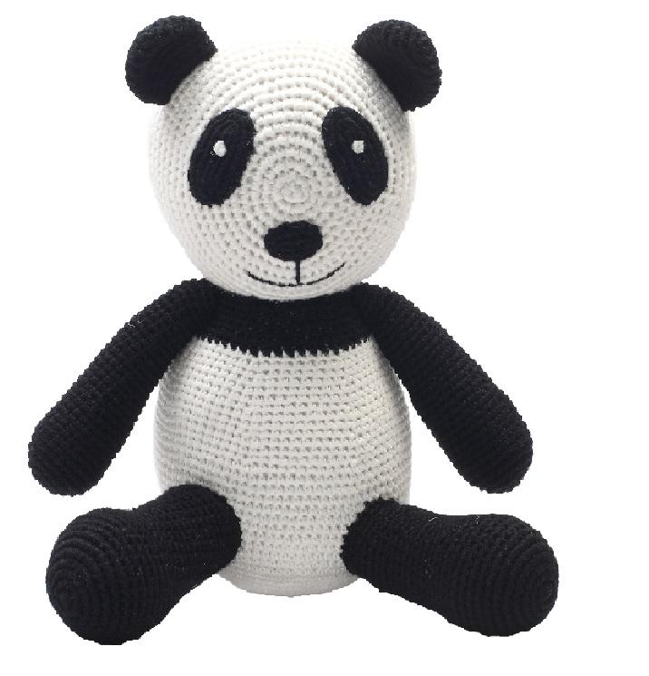 פנדה שחור לבן גדול - בובות סרוגות