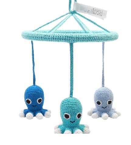 מובייל תמנון ים כחול ותכלת - בובות סרוגות