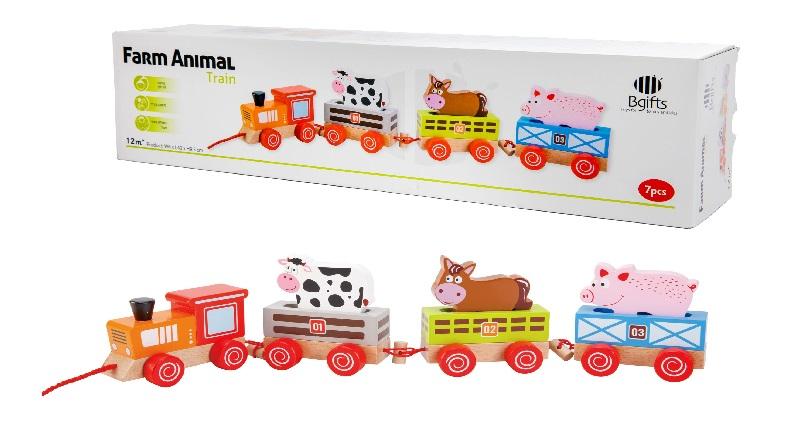 רכבת החיות 12 חודשים - צעצועי עץ