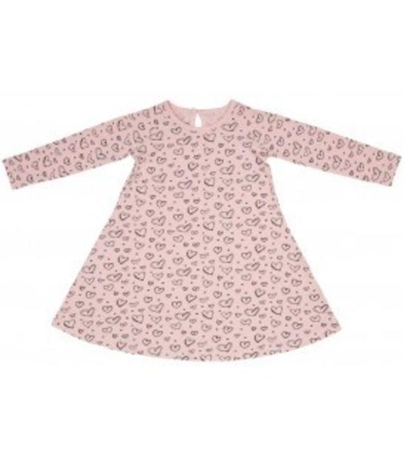 שמלת ג'רזי - ורוד לבבות