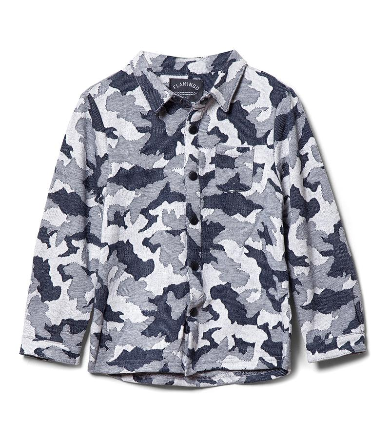 חולצה מכופתרת אלכסיס - צבאי אפור