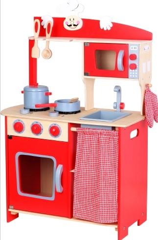 מטבח לילדים מעץ אדום קטן - צעצועי עץ