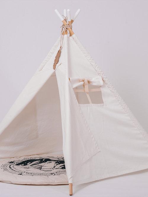 אוהל טיפי עץ סיומת לבנה