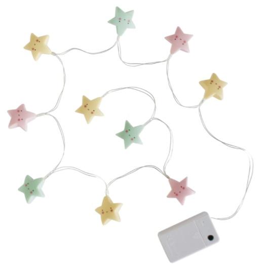 גרלנדת מנורות כוכבים צבעוניים