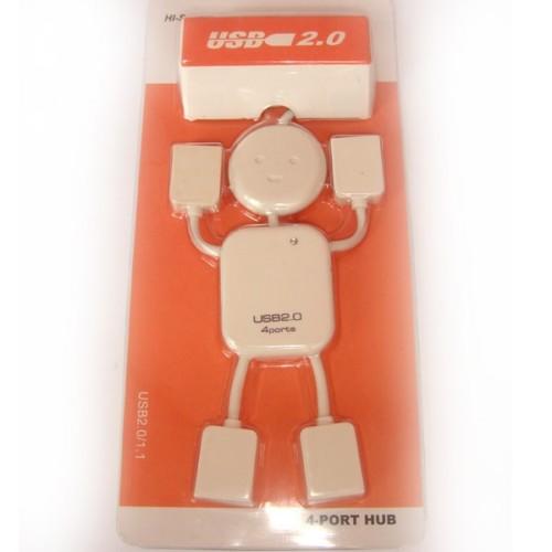 מפצל USB רובוט 4 יציאות (לבן)