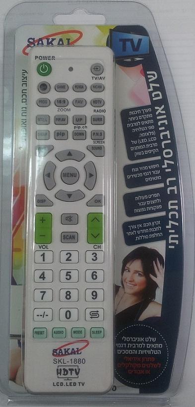 שלט אוניברסלי לטלוויזיות LCD, LED, פלזמה