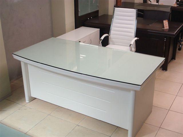 שולחן מנהלים לבן מפואר עם פלטת זכוכית שקופה דגם וינה