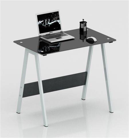 שולחן תלמיד למחשב מזכוכית שחורה ורגליים מעוצבות  דגם בלק