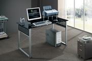 שולחן  משרדי למחשב זכוכית שחורה דגם דבלין