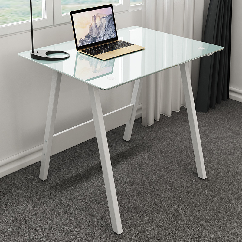 שולחן מחשב קטן  זכוכית חלבית דגם הום