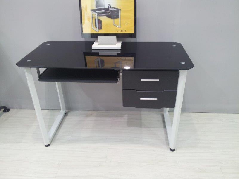 שולחן מחשב זכוכית שחורה כולל מגירות דגם הולנד
