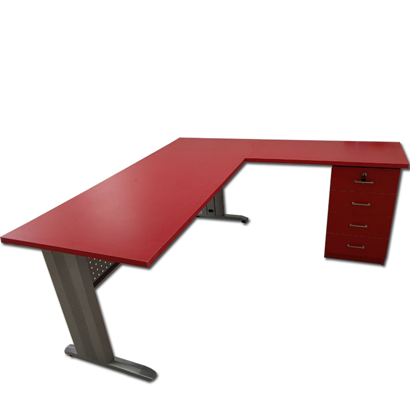 שולחן מחשב  פינתי מעץ  למשרד בשילוב רגל מתכת דגם אקסל