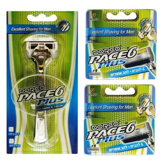 סכין גילוח ו 2 רביעיות מילוי לדורקו Pace6 PLUS