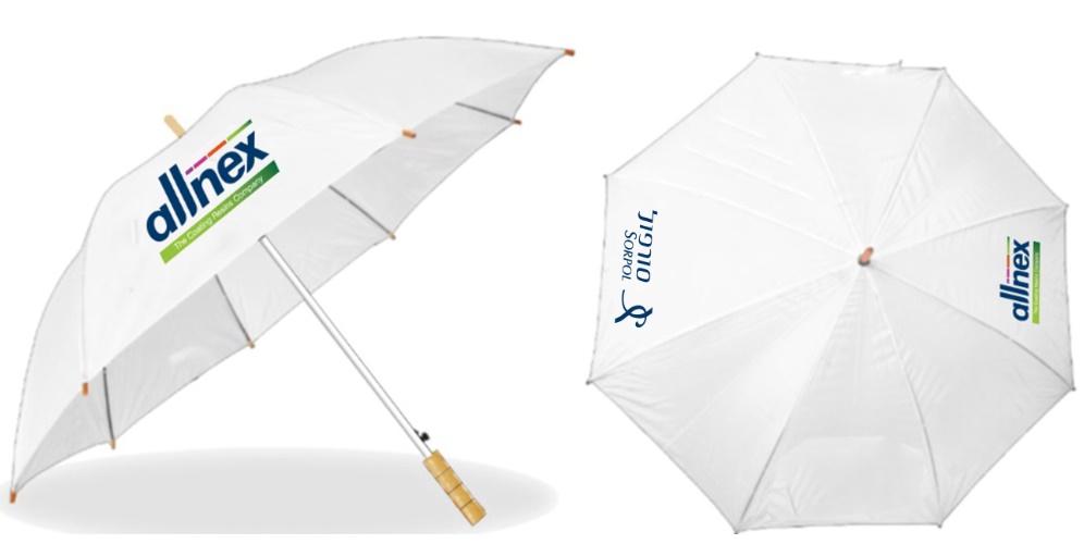 מטריות זולות | מטריה לבנה עם הדפס צבעוני