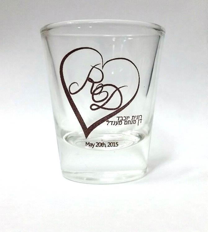כוסות צ'ייסר לחתונה   כוסות עם כיתוב