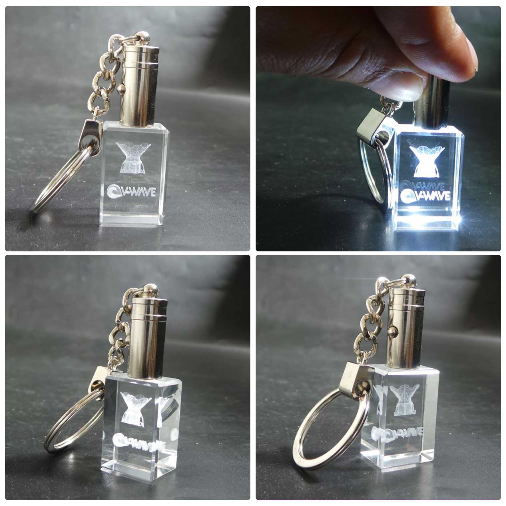 מחזיק מפתחות זכוכית עם צריבת לייזר עם תאורה