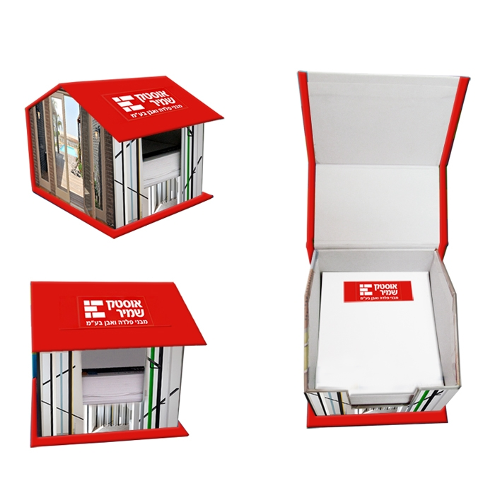 מעמד דפי ממו בצורת בית | מתנות למשרד חדש | נייר ממו