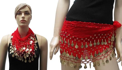 צעיף חצאית עם מטבעות לרקדניות בטן