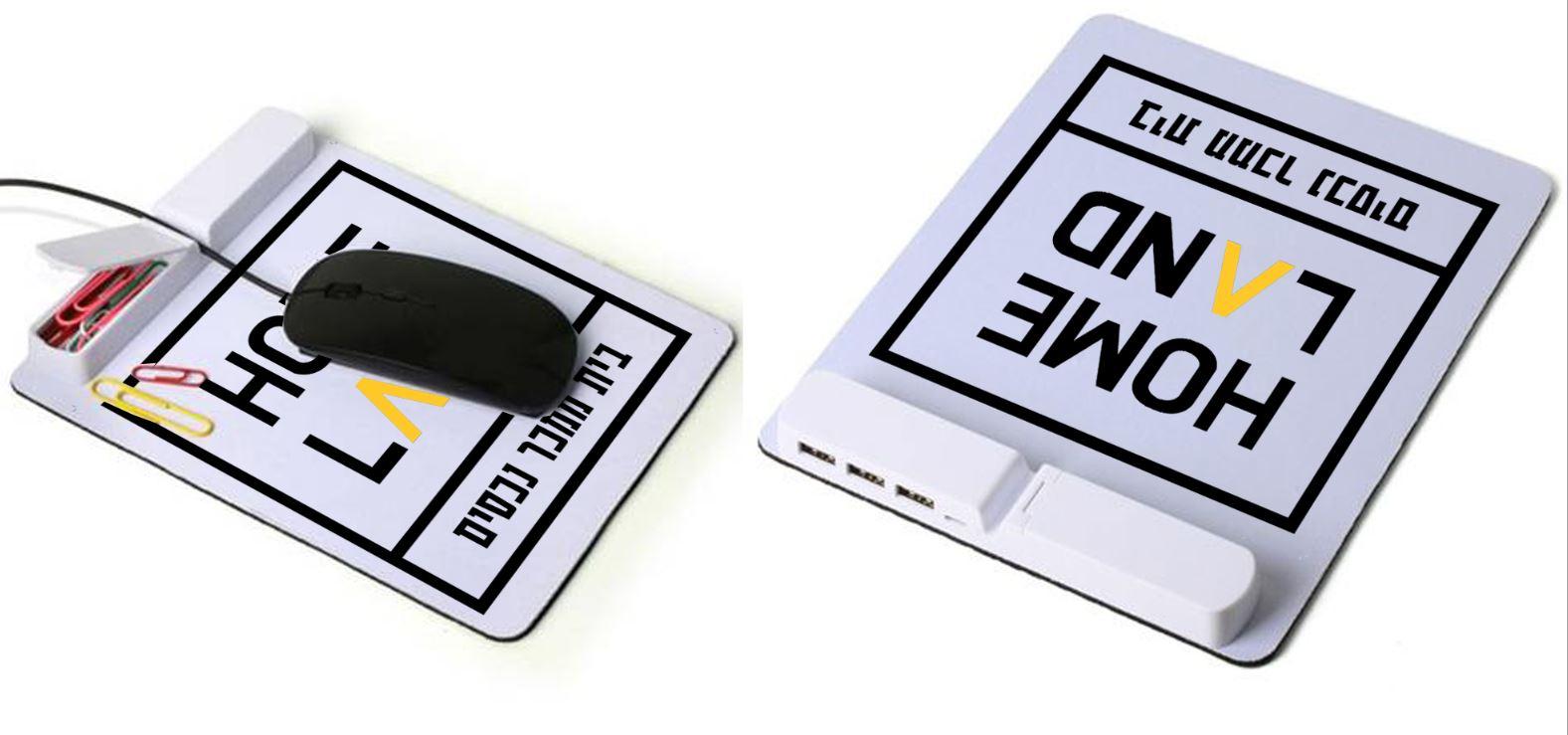 משטח לעכבר עם יציאות USB