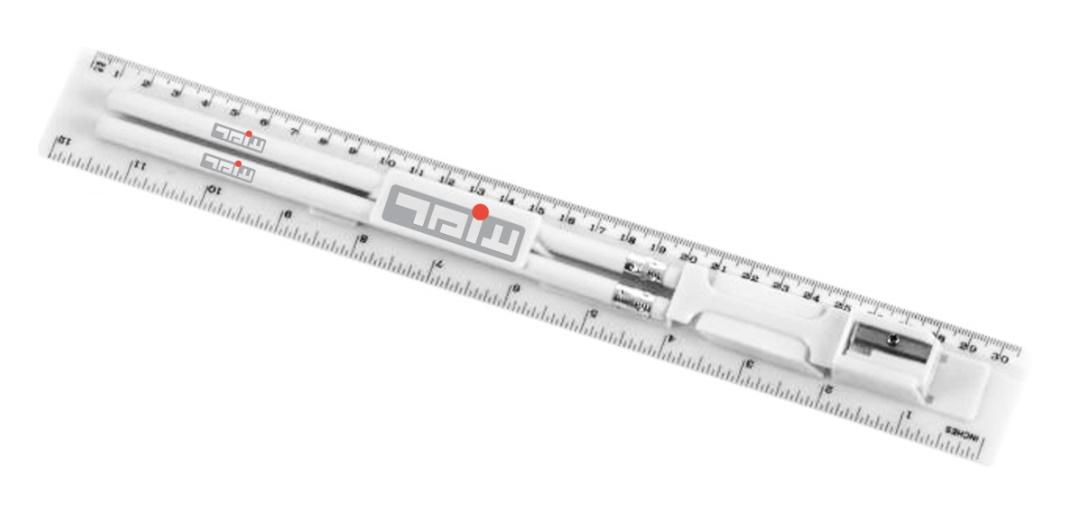 סרגל שולחני עם 2 עפרונות מחק ומחדד